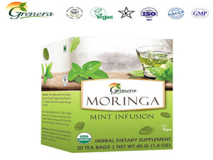 New 100% Grenera Moringa Mint Infusion 20 Tea Bags-HealthCare