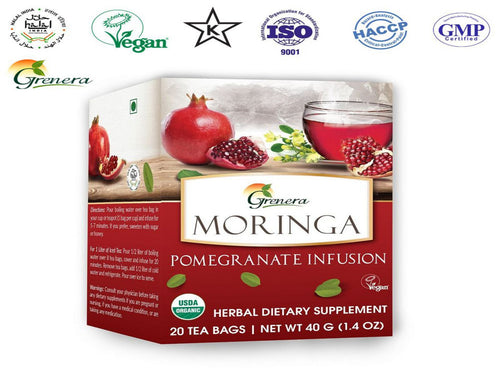 New 100% Moringa Pomegranate Tea – 20 Tea Bags – Grenera Organics-HealthCare