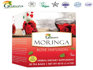 New 100% Moringa Rose Infusion - 20 Tea bags Grenera Organics-HealthCare