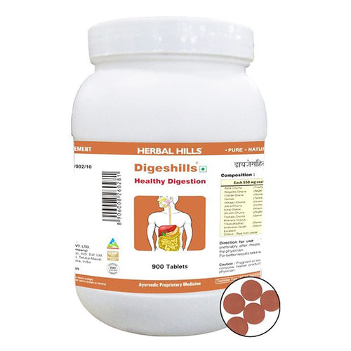 Herbal Hills Digeshills Ayurvedic Tablets 900 Tablets for Healthy Digestion