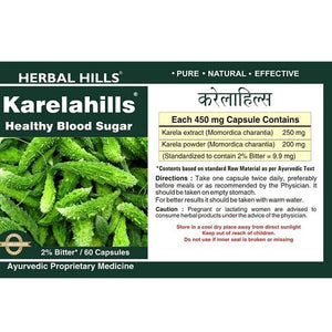 Herbal Hills Karelahills Ayurvedic Capsules for Healthy Blood Sugar 60 Capsules