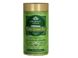 100% Pure Organic India Tulsi Herbal Green Tea-100 Gms Tin Available