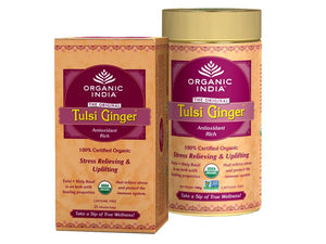 Real Organic India Tulsi Ginger Caffeine With Combo Pack Tea Bags + 100 Gms Tin Available