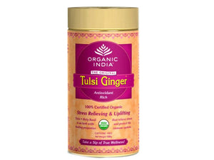 Real Organic Tulsi Ginger Tea 100 Gms Tin For Good Health Available