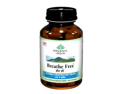 Certified Organic India Breathe Free Veg For Improves Vital Capacity -60 capsule Available