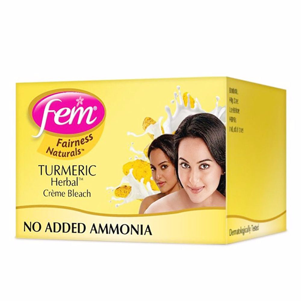 Fem Fairness Naturals Turmeric Herbal Bleach- Gives Glow To Skin 24gm Available