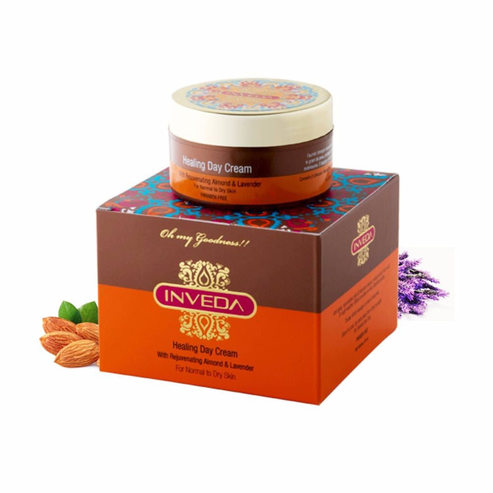 Inveda Healing Day Cream With  Almond Lavender 50Ml For All Type Skin Available