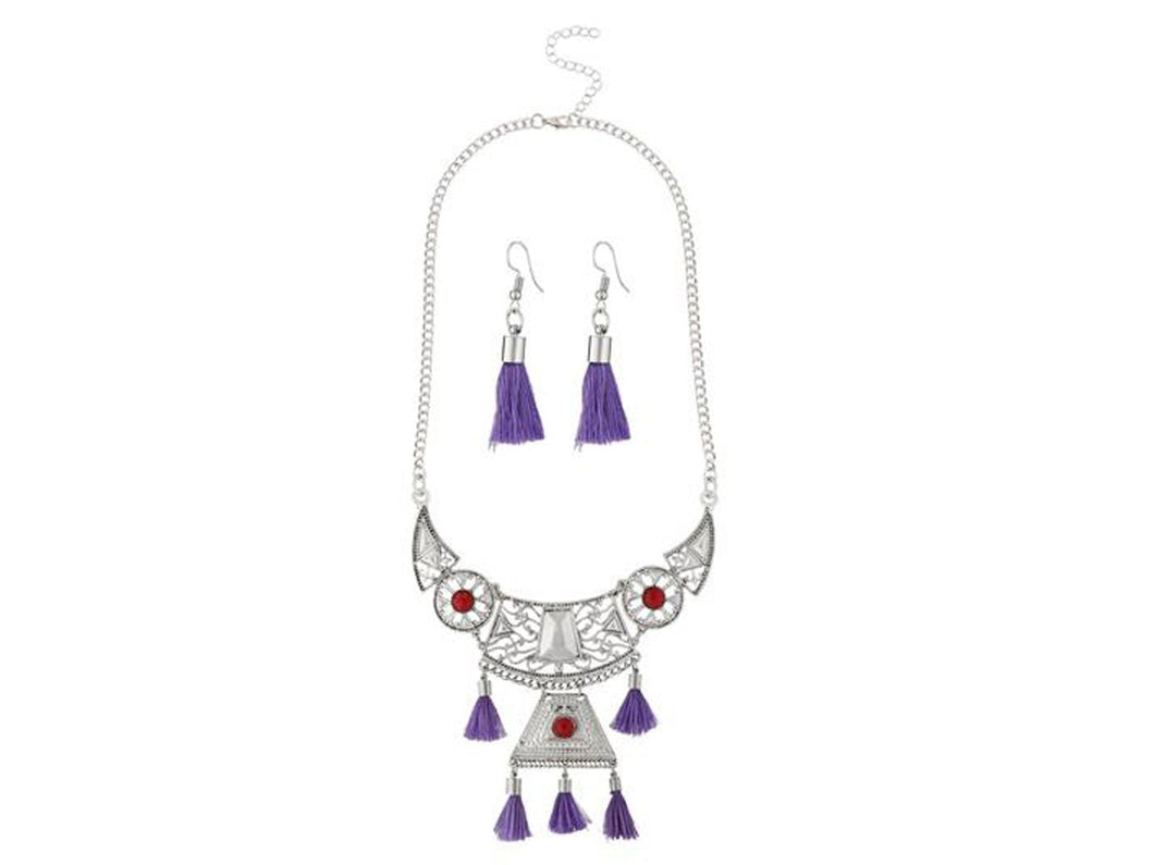 Indian Designer Jewelry Bollywood Style Purple Thread Rhodium Plated Necklace Set