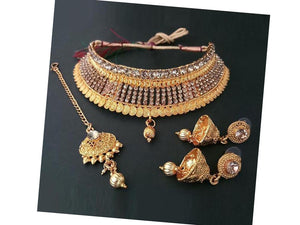 Indian Designer Jewelry Bollywood Style Brown Stone Choker Necklace Set With Maang Tikka