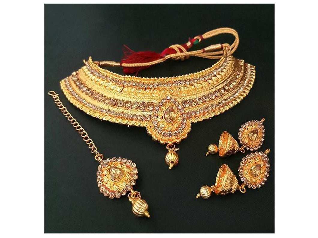 Indian Designer Jewelry Bollywood Style Stone Choker Necklace Set With Maang Tikka