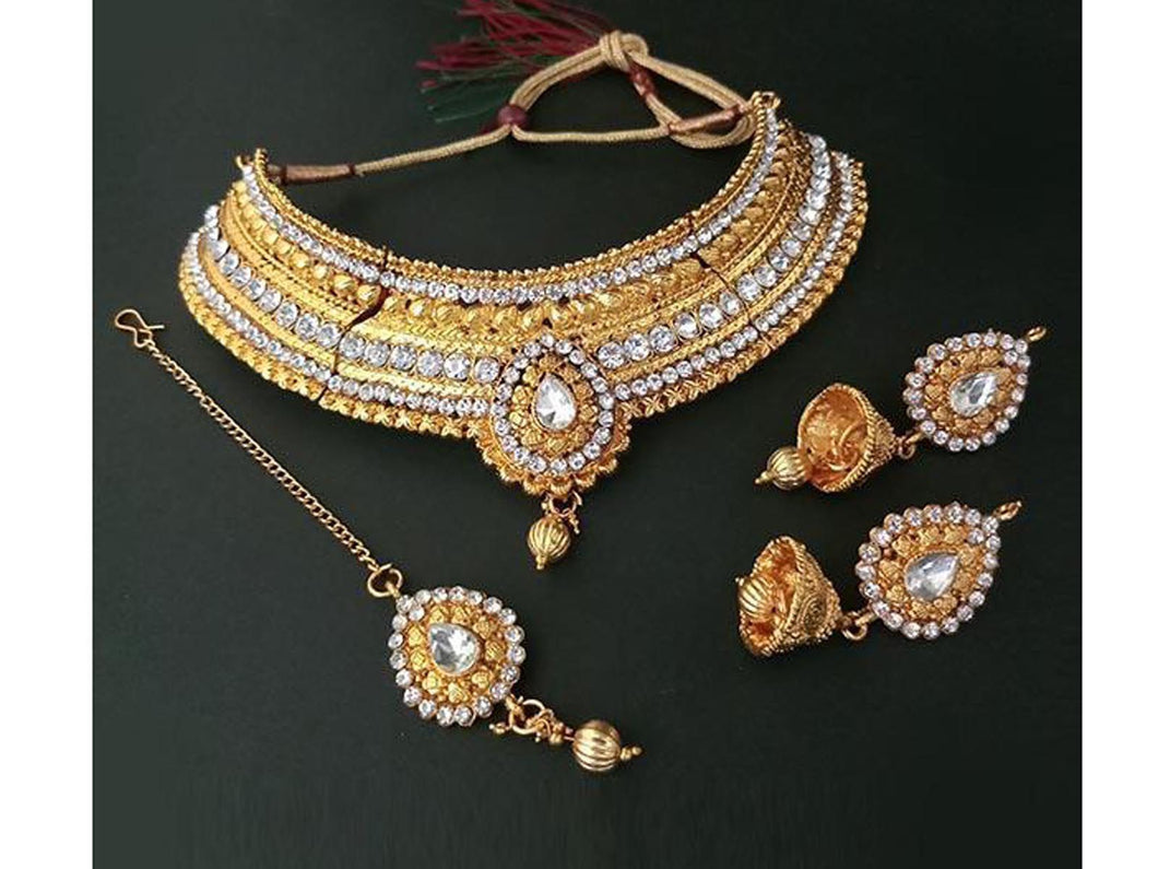 Indian Designer Jewelry Bollywood Style Gold Choker Necklace Set With Maang Tikka