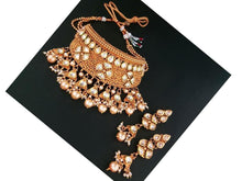 Indian Designer Jewelry Bollywood Style Kundan Stone Copper Necklace Set