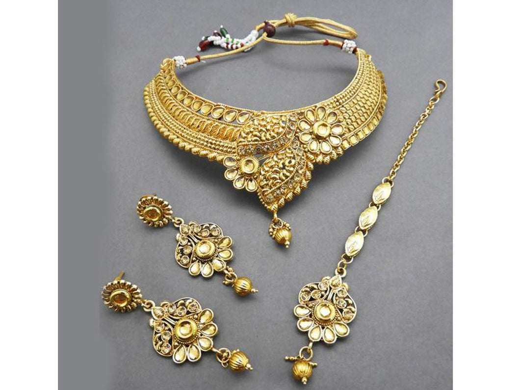 Indian Designer Jewelry Bollywood Style Kundan Stone Copper Necklace Set With Maang Tikka