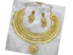 Indian Designer Jewelry Bollywood Style Gold Forming Gold Plated Choker Copper Necklace Set