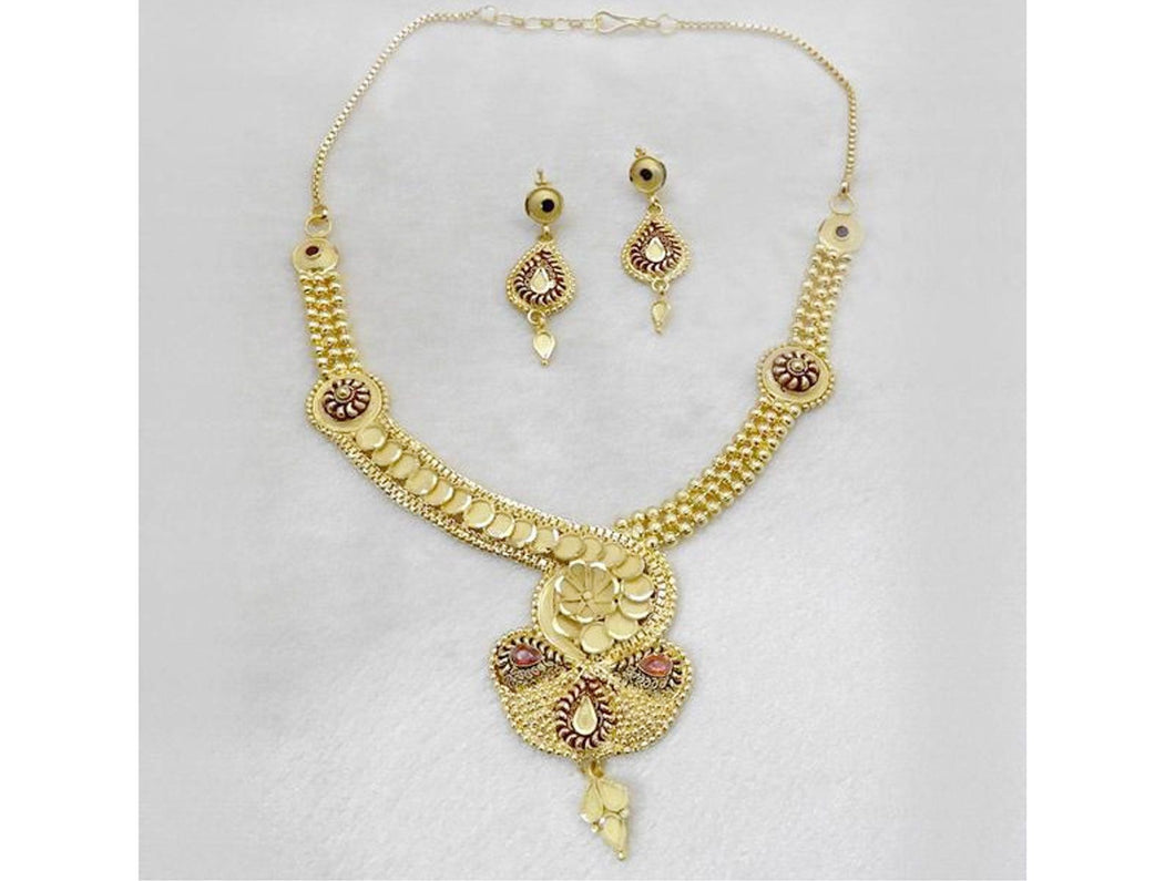 Indian Designer Jewelry Bollywood Style Gold Forming Gold Plated Copper Floral Necklace Set