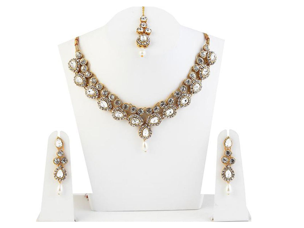 Indian Designer Jewelry Bollywood Style Silver Plated Necklace Set With Maang Tikka