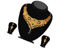 Indian Designer Jewelry Bollywood Style Green Meenakari Gold Plated Necklace Set