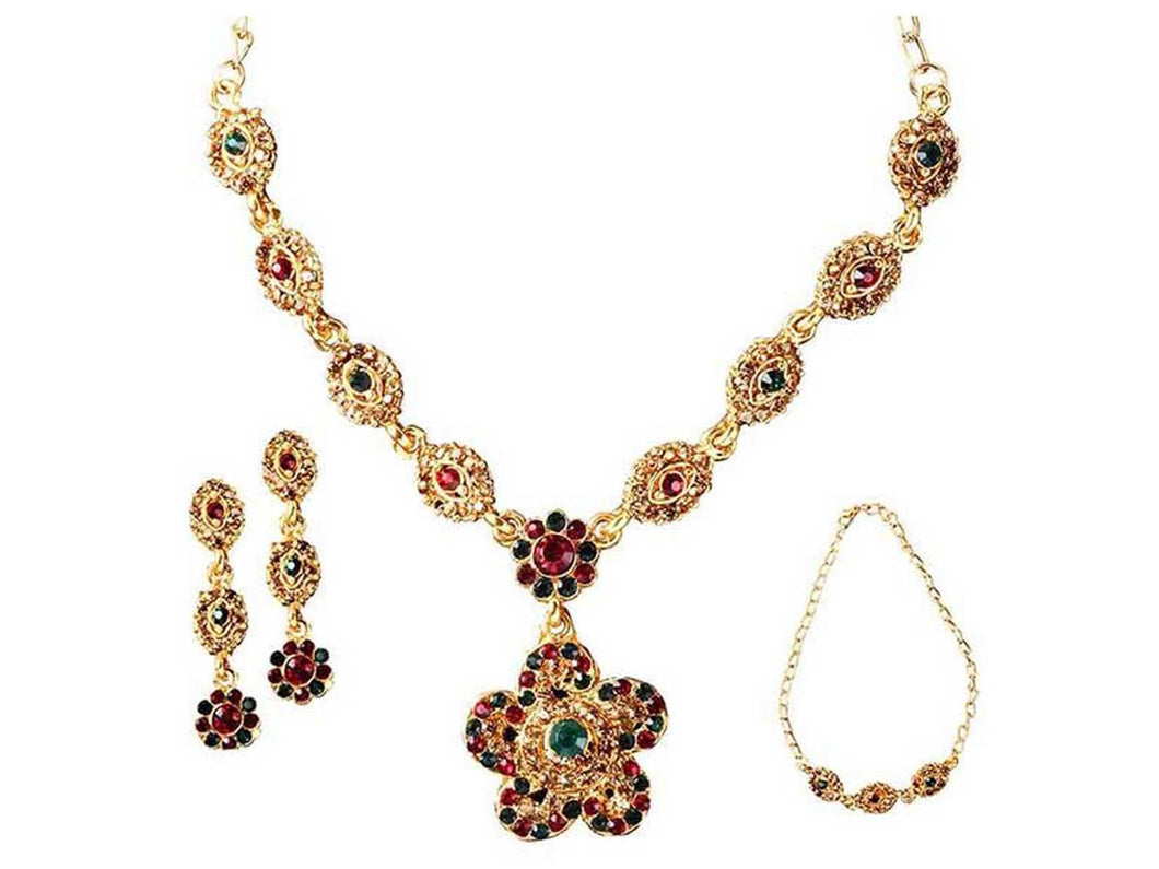 Indian Designer Jewelry Bollywood Style Gold Plated Austrian Stone Necklace Set with Bracelet-