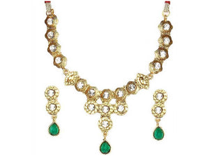 Indian Designer Jewelry Bollywood Style Gold Plated Austrian Stone Necklace Set