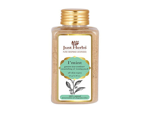 New Just Herbs I mint Green Tea-Vetiver Nourishing and Toning pack,65gm Available at BuyIndianProducts24x7.com