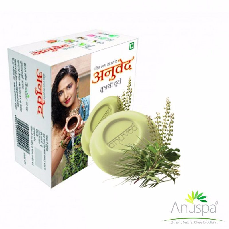 ANUVED Tulsi Durva Soap For Detoxifying Skin - 125 Gms