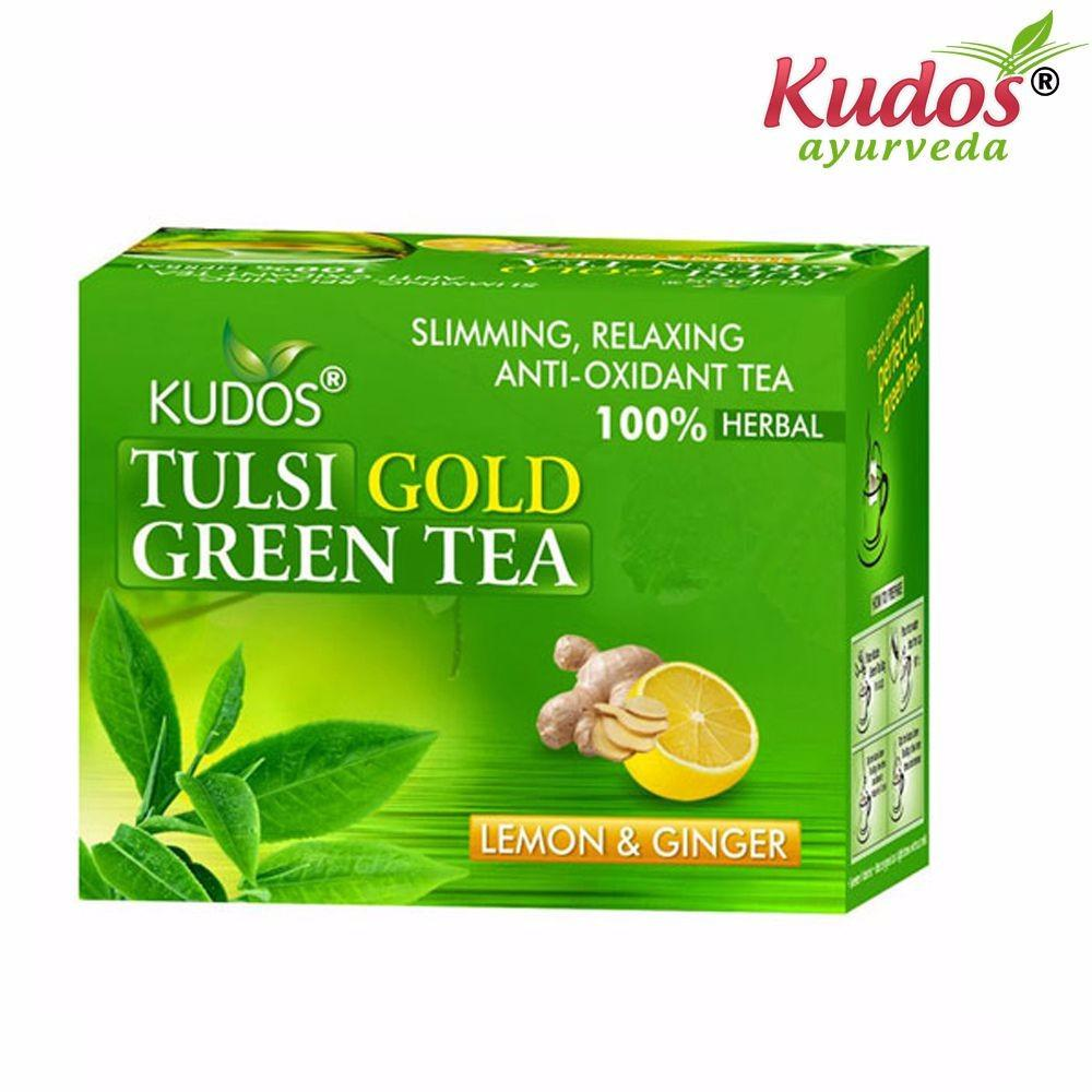Kudos Tulsi Gold Green Tea-Pure Natural - 2GX25 Tea Bags Available