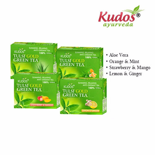 Kudos Tulsi Gold Green Tea In 4 Exciting Flavors-Reduces stress and relaxes