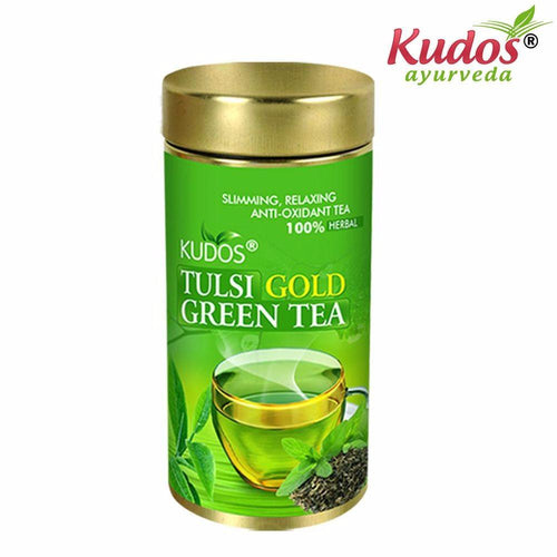 Kudos Tulsi Gold Green Tea-Improves digestion- 100gm(Jar) Available