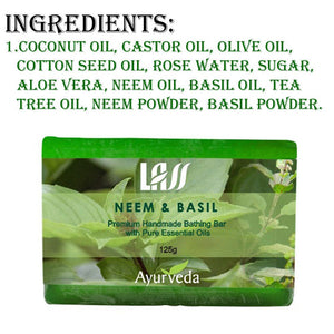 Lass Naturals Neem Basil & Tea Tree Soap For Skin Problems Patches,Pimples etc.