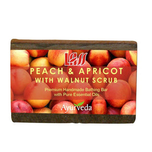 Lass Naturals Peach Apricot & Walnut Scrub Soap 125GM Available