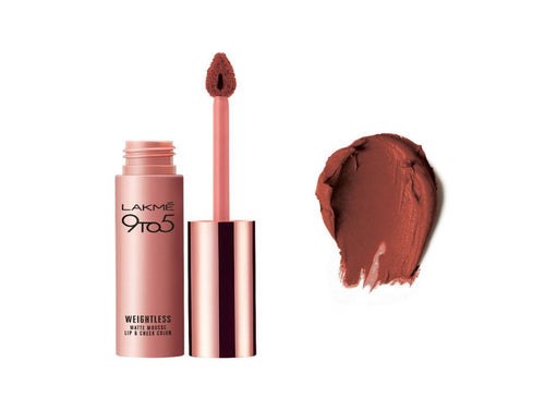 Lakme 9 to 5 Weightless Matte Mousse Lip & Cheek Color -9Gms For Women