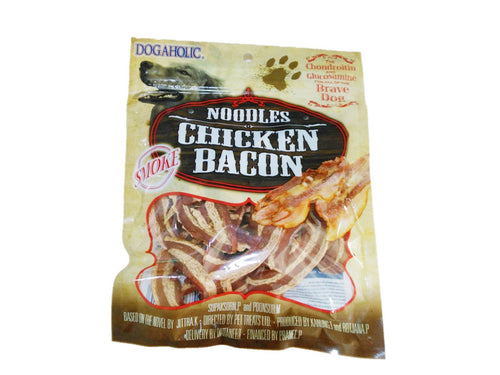 Pet Care Noodles Chicken Bacon Smoked Dog Treats- 130gm Available