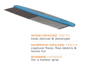 Pet Care HUFT Narrow & Wide Tooth Steel Comb for Pets-