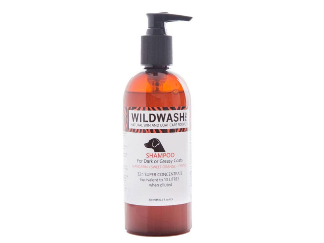 Pet Care WildWash Dog Shampoo for Dark or Greasy Coats - Mandarin, Sweet Orange & Fennel- 300ml Available
