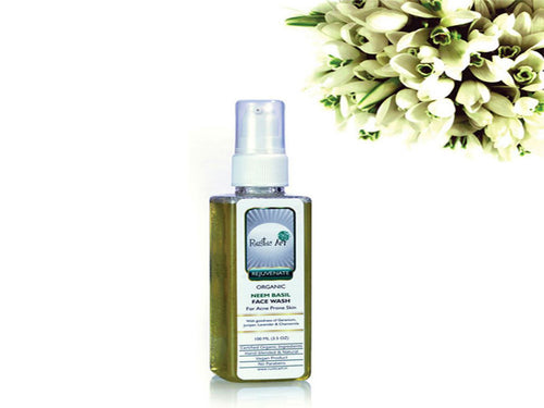 Rustic Art Handmad Organic Neem Basil Face Wash For Oily & Acne prone skin