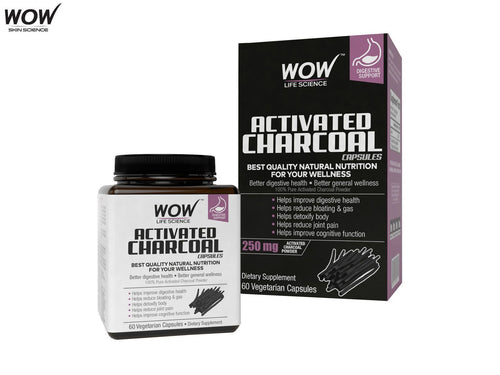 Wow Life Science Activated Charcoal Dietary Supplement-60 Capsules