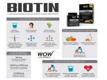 Wow Biotin, Maximum Strength Veg Capsule, 10,000mcg Biotin ,60mg Calcium -60capsules