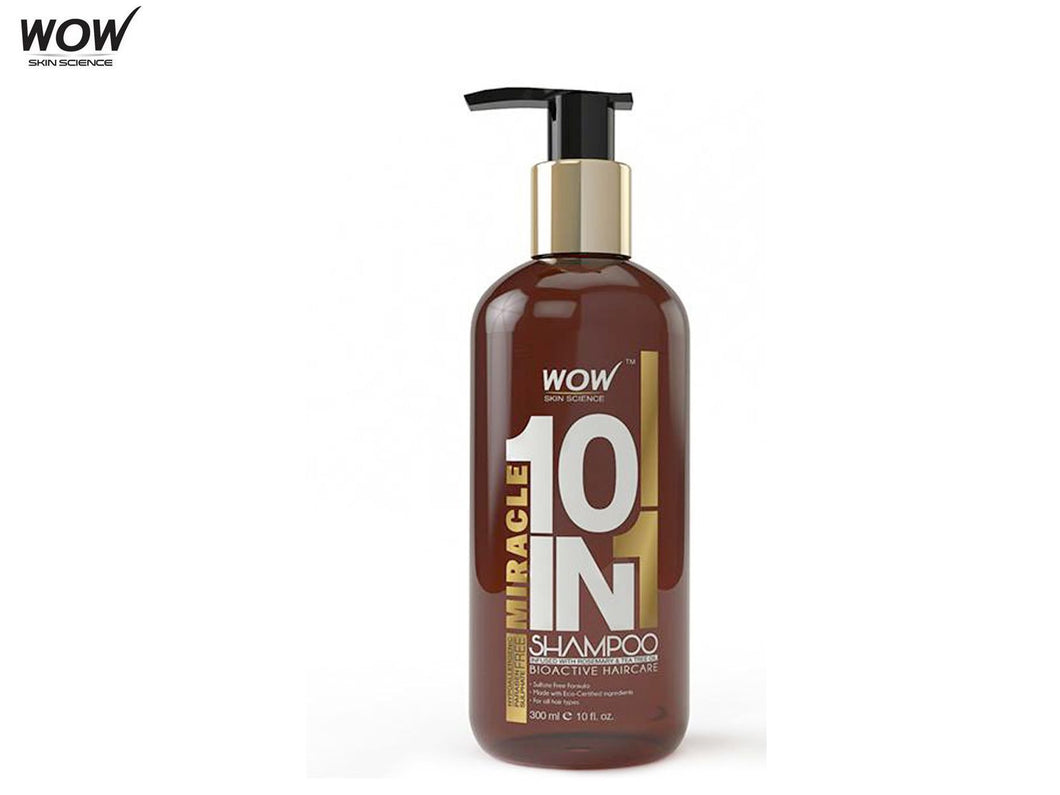 Wow Skin Science Miracle 10 In 1 Shampoo - 300ml - Sulphate & Paraben Free