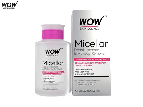 Wow Skin Science Micellar Water Facial Cleanser & Makeup Remover-180ml