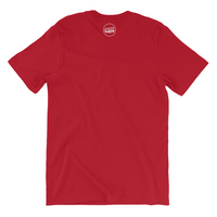 "back view of red t shirt with the ""access now"" logo 3 inches large at the neck"