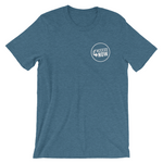 teal round neck t-shirt with round AccessNow logo in white over left chest