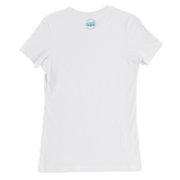 back view of female white tshirt with accessnow logo printed at top of neckline