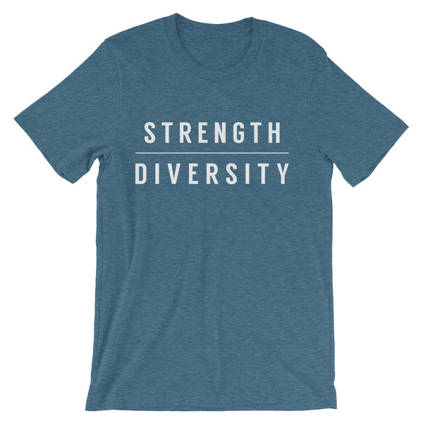 "Teal round neck unisex t-shirt that has the word ""strength"" above the word ""diversity"" printed in white capital letters across the chest"