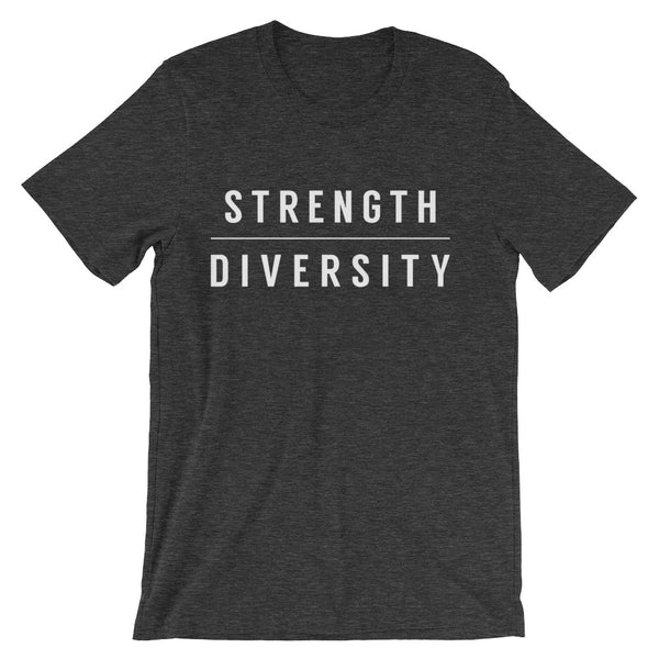 "dark grey round neck unisex t-shirt that has the word ""strength"" above the word ""diversity"" printed in white capital letters across the chest"
