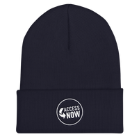 product image of a navy blue beanie hat with the AccessNow logo embroidered on it in the front, middle, in white thread