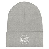 product image of a grey beanie hat with the AccessNow logo embroidered on it in the front, middle, in white thread