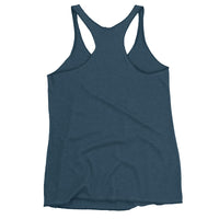 back view of Indigo female Racerback tank top