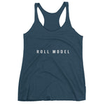 Indigo female Racerback tank top with the words Roll Model written in capitals across center