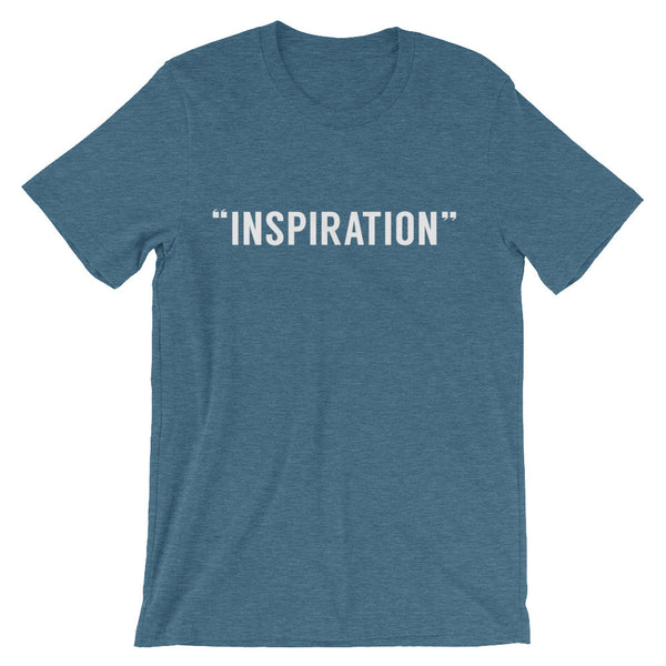 "teal round neck t-shirt with capital letters that read ""inspiration"" in white"