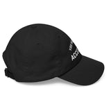 "side view of black dad cap with the words"" YOU HAD ME AT ACCESSIBLE"" embroidered on the front"